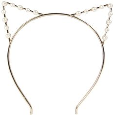 Boohoo Amber Pearl Cat Ear Headband ($7) ❤ liked on Polyvore featuring accessories, hair accessories, hair, headwear, headbands, pearl headband, hairband and pearl cat ear headband
