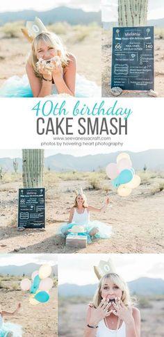 40th Birthday Adult Cake Smash Photo Shoot Idea