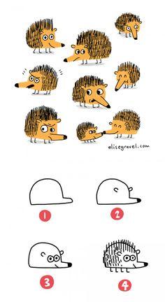 Elise Gravel Illustration • tutorial • drawing • hedgehog • dessiner • hérisson • mignon • cute • hot to • DIY • kids • enfant • art • dessin