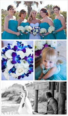Overall look with teal and Blue orchid bridal bouquet/ white bridesmaid bouquets