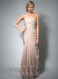 Champagne, embellished bridesmaid dress