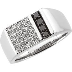 69175 / 14kt White / 1/3 CT TW / Polished / GENTS BLACK & WHITE DIA RING