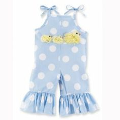 Little Chick Longalls. Cotton longalls with shoulder ties. 3 chiffon chick appliques and flare ruffle at bottom of pants. Matching hair bow also available. Sizes 12 month to 3T