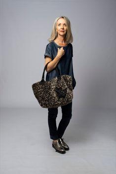 Limited edition handmade fun fake fur bag in two sizes for cat lovers