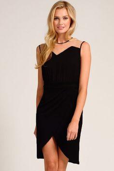 Black Mesh Piping Wrap 2 in 1 Midi Dress
