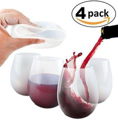 KABOOCHY Silicone Wine Glasses  Set of 4  Unbreakable Outdoor Wine Cups 12 oz Clear Silicone 100 Dishwasher Safe  Shatterproof Party Cups  Drinkware Set for BBQ Pool Camping  Picnics * Check out this great product. (This is an affiliate link) #WineGlasses