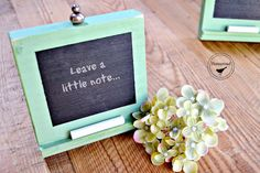 Table numbers and/or signage. Mini Green Chalkboards by Homeroad on Etsy