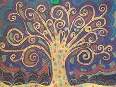 Klimt Tree of Life. Gold paint on black construction paper details with construction paper crayons.