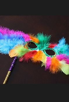 Make FEATHER MASKS using paper plates and feathers