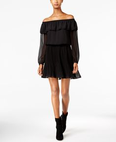 Michael Michael Kors Ruffled Off-The-Shoulder Peasant Dress