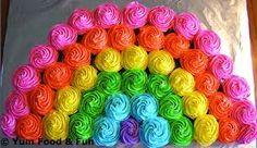 Regenbogen Cupcakes, ein echter Augenschmaus.