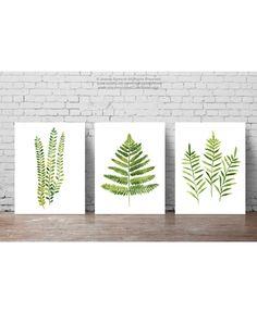 Fern Watercolor Painting set 3 Ferns Kitchen Art Print, Botanical Leaf Wall…