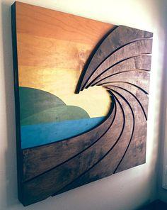 Wave Art by Shaun Thomas - wood wall hanging art sculpture Wooden Wall Art, Wooden Walls, Big Wall Art, Hanging Artwork, Wood Artwork, Pallet Art, Pallet Wood, Reclaimed Wood Art, Diy Pallet