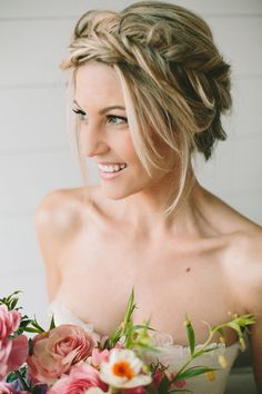 Pretty Wedding Hair Ideas ~ Braided Updo ~ Hair and Make-up by Steph ~ Photo: Lindsey Shaun ~ Flowers: Tinge Floral