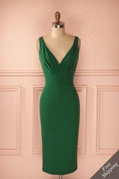 Jacqui - Green fitted retro midi dress
