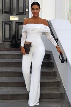 All White Party Outfits, White Outfits For Women, All White Outfit, Classy Outfits, Chic Outfits, Fashion Outfits, Clothes For Women, White Women, Long Jumpsuits