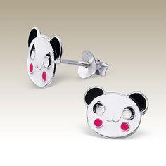 Panda ear studs - Finishing: E-coat 925 Sterling silver Design from Bangkok925.com  Dimensions:  1.2x0.9cm.  nice Silver Children Ear Studs at $2.71