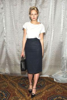 White Tee & Pencil Skirt