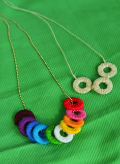 Snow Day Activities. Make these EASY washer + string necklaces. A perfect indoor activity for kids or teens when you're stuck inside due to cold weather.