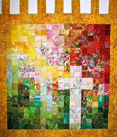 More Eastery - Cross  Watercolor Art Quilt  Reds Greens and by SusieBDesigns - reverse colors for Easter