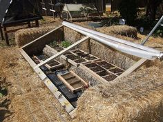 Cold frame built with bales of straw