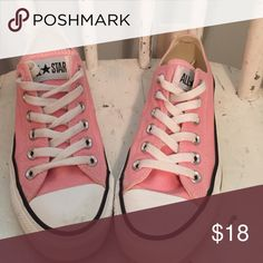 Gently worn pink converse low tops. Women's 7. NSH Gently worn women's size 7. Minor scuff on soles. Clean on the canvas. Non smoking home. Converse Shoes Sneakers