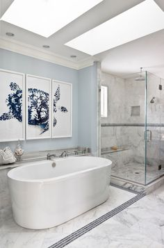 Wall paint color is Benjamin Moore Blue Lace. Stunning bathroom design from Chri. Wall paint color is Benjamin Moore Blue Lace. Stunning bathroom design from Christine Huve Interior Design Relaxing Bathroom, Beach Theme Bathroom, Beach Bathrooms, White Bathroom, Small Bathroom, Master Bathroom, Blue Bathrooms, Kitchen Small, Bad Inspiration