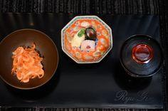 Sakura Tea-simmered Rice with Sakura Shrimp, Pickles, and Shrimp-Miso Broth  Food and Chef Photos: Chef Seiji Yamamoto of RyuGin - Tokyo, Japan
