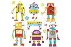 Cute Robots Clip Art #scrapbooking #digitalcollagesheet
