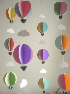 Baby Mobile-Hot Air Balloons & Clouds-3D-Mobile-Crib Mobile-Baby-Nursery Decor-Kids Room-Children-Pastel Colours-Baby Shower Gift-Paper