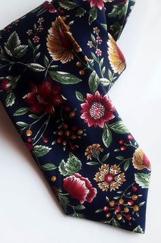 Your place to buy and sell all things handmade Made In Uk, Silk Ties, Vintage Floral, Black Backgrounds, Bespoke, Etsy, Fashion, Taylormade, Moda