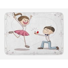 Engagement Party Bath Mat, Celebration Cartoon of Lovely Romantic Couple with Wedding Ring, Non-Slip Plush Mat Bathroom Kitchen Laundry Room Decor, 29.5 X 17.5 Inches, Pink Blue and White, Ambesonne #romanticweddings Romantic Couples, Romantic Weddings, Pink Blue, Blue And White, Laundry Room, Veil, Bath Mat, Celebration, Plush