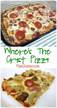 Where's The Crust Pizza - pizza crust made with cream cheese, eggs, garlic and parmesan cheese - no gluten! Top with favorite sauce and toppings. SOOOO good! We love to make this for our weekly pizza night!