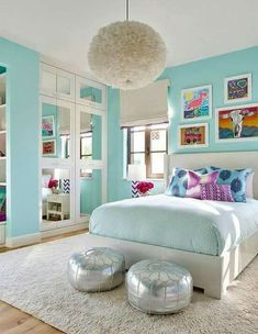 Want to add turquoise to your home's decor? Here are 12 fabulous turquoise room ideas that offer inspiration for bedrooms, living rooms, and other room. #livingroomideasturquoise