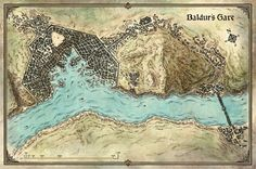 Dungeons & Dragons Roleplaying Game Official Home Page - Article (Murder in Baldur's Gate) Fantasy City Map, Fantasy World, Fantasy Series, Dnd World Map, Village Map, Baldur's Gate, Dragon Rpg, Forgotten Realms, Places