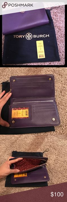 Tory Burch Robinson continental zip wallet Tory Burch Robinson hidden zip continental wallet in electric purple. Excellent condition. No scratches, tears or odors. Comes In dust bag and tags. Tory Burch Bags Wallets