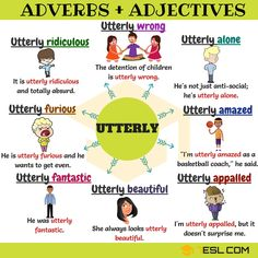Adverbs and Adjectives! List of common adverb adjective collocations in English with examples and ESL pictures. Learn these adverb and adjective collocations to English Prepositions, English Adjectives, English Vocabulary Words, English Phrases, Learn English Words, English Grammar, Learning English For Kids, English Language Learning, Teaching English