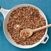 Skillet Granola : in nonstick skillet, melt 3 tbsp butter into 3 tbsp maple syrup over medium.  Add 1/2 c chopped pecans, 2 tbsp packed brown sugar, 1 1/4 tsp ground cinnamon and 1/2 tsp salt.  Cook, stirring, 2 min.  Add 2 c old fashioned rolled oats and cook, stirring, until golden, 5 minutes.  Transfer to baking sheet and cool.