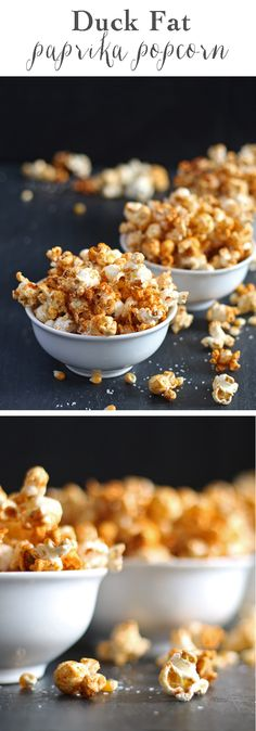 Duck fat paprika popcorn is savory and spicy – a perfect snack! | honeyandbirch.com