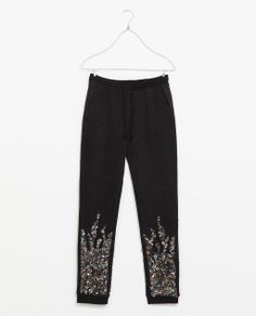 ZARA - TRAFALUC - VELOUR TROUSERS WITH SEQUINS