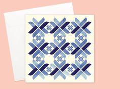 Nordic Blue blank Greeting card or greeting card set by KataKiosK