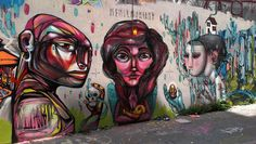 Street Art - Lima, Peru - a collaboration by Entes, Pesimo, Seth and Den. Such fantastic colour and strong lines.