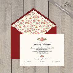 #vintage #chic #clásicas Sobre rojo liso de 150 grs, forrado flores. Enviamos a toda España. www.bodasnazaret.com