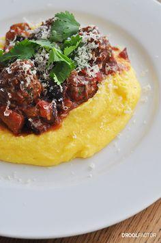 Italian meatballs with polenta (Jamie Oliver's Meatball Alla Norma)