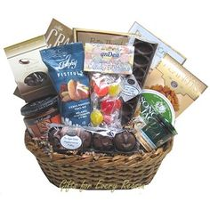 Nut free gift baskets using our classic black gift basket box by sugar free gift baskets great for diabetics and tasty enough to share 110 includes negle Choice Image