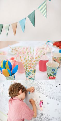 Could use chalkboard paper instead. Love the mix match cups, floral, stripes.
