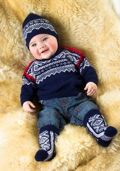 Merino Woolblend- Marius genser lanett pattern by Unn Søiland Dale Knitting For Kids, Baby Knitting, Brei Baby, Norwegian Knitting, Baby Barn, Fair Isle Knitting, Baby Sweaters, 30, Norway