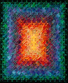 Sunset on KeeKee Beach by Nancy Messier - blooming nine patch quilt