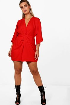 8015087ed8b8 Click here to find out about the Plus Knot Detail 3/4 Sleeve Dress from.  Boohoo NA