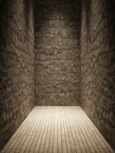 Interior room with stone wall and wooden floor Stock Photo - 14129794